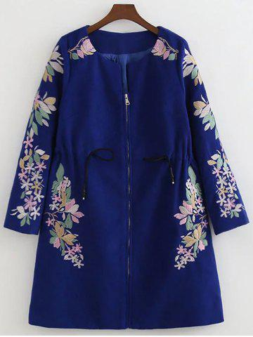 Outfit Floral Embroidery Drawstring Coat