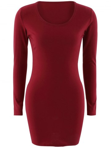 Affordable Short Slimming T-Shirt Dress With Long Sleeves
