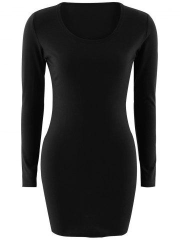 Discount Short Slimming T-Shirt Dress With Long Sleeves BLACK M