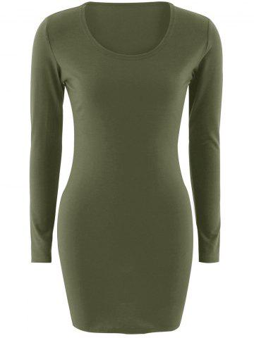 Cheap Short Slimming T-Shirt Dress With Long Sleeves