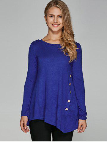 Hot Inclined Buttoned Asymmetrical Blouse