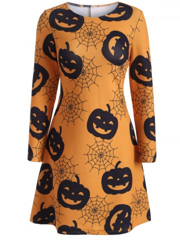 Unique Pumpkin Print Halloween Swing Dress - XL ORANGE YELLOW Mobile