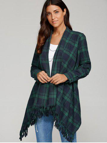 Discount Asymmetrical Fringed Plaid Cardigan