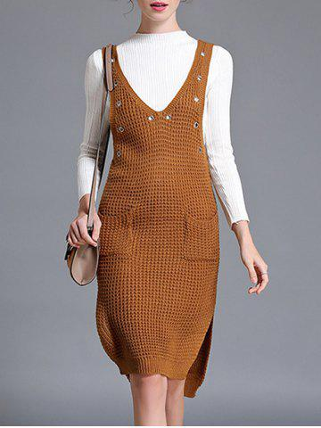 Buy Slit Pockets Sweater Dress and Fitting Knitwear