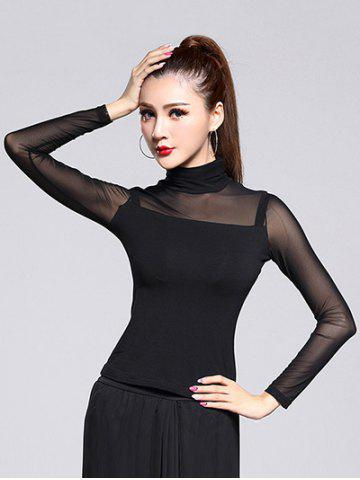 Mesh Sheer Long Sleeve Turtleneck Tee