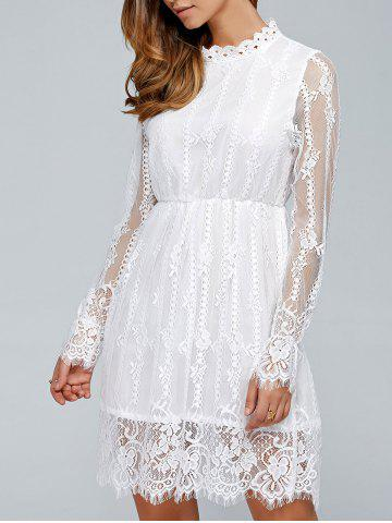 Buy Long Sleeves See-Through Lace Dress