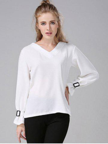 Store V-Neck Topstitched Blouse