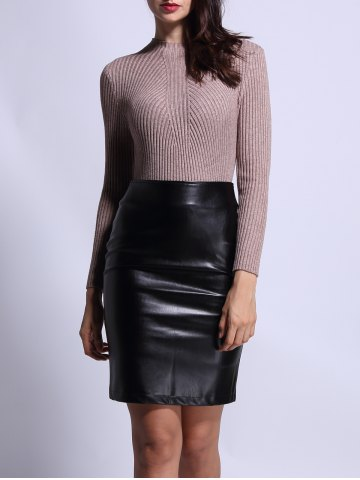 Latest High Waist Faux Leather Back Slit Pencil Skirt BLACK L