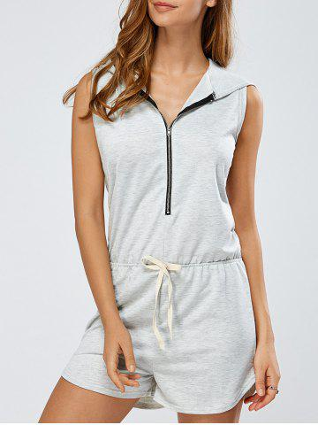 Zip-Up Tied Bowknot Hooded Romper - Gray - Xl