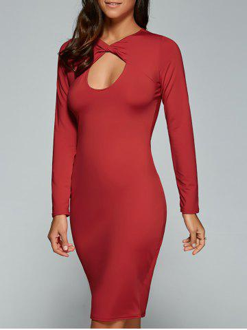 Affordable Long Sleeve Twisted Hollow Out MIni Bodycon Dress RED M