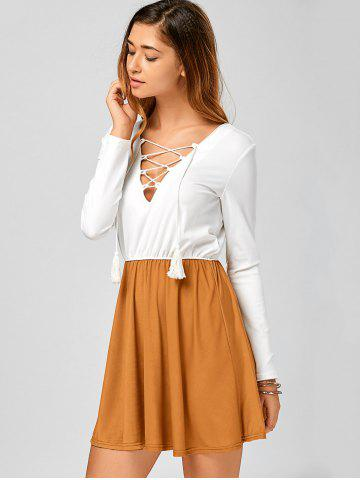 Store Long Sleeve Lace Up Short Skater Dress - S WHITE Mobile