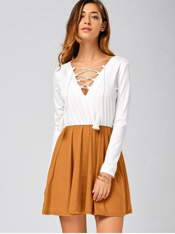Fancy Long Sleeve Lace Up Short Skater Dress - S WHITE Mobile