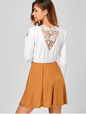 Unique Long Sleeve Lace Up Short Skater Dress - S WHITE Mobile