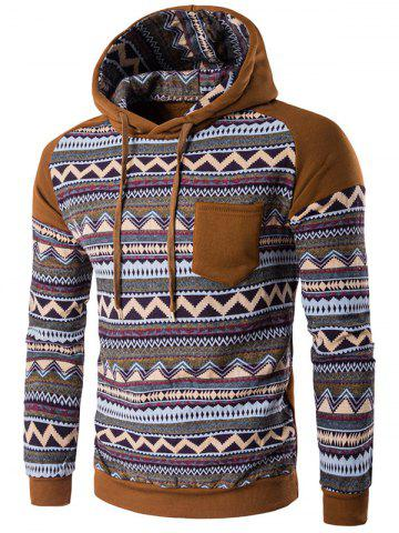 Cheap Color Block Tribal Printed Pocket Hooded Raglan Sleeve Hoodie