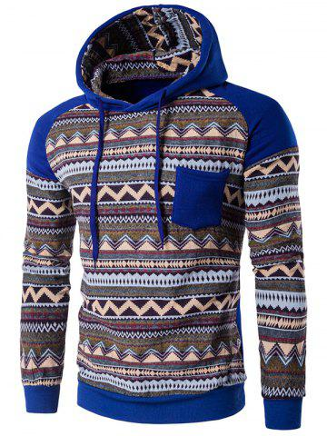 Color Block capuche Hoodie manches Raglan Tribal imprimé Pocket Bleu 2XL