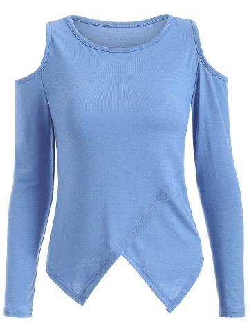 Chic Cold Shoulder Long Sleeve T-Shirt BLUE XL