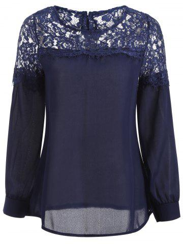 Latest Sheer Lace Yoke Blouse