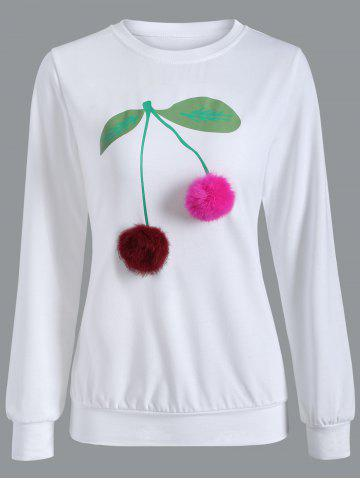 Shop Crew Neck Pompom Cherry Sweatshirt WHITE XL