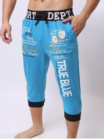 Fashion Lace-Up Color Block Spliced Letters Print Beam Feet Cropped Jogger Shorts - M BLUE Mobile