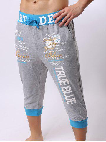 Affordable Lace-Up Color Block Spliced Letters Print Beam Feet Cropped Jogger Shorts - LIGHT GRAY XL Mobile