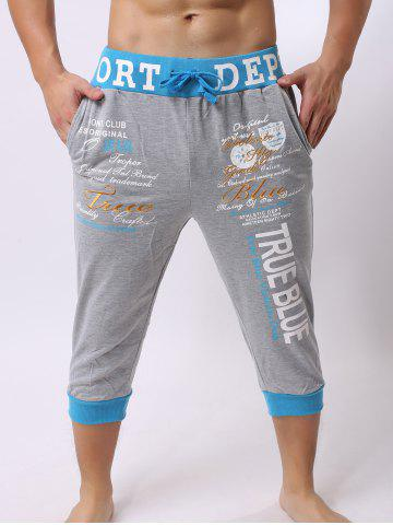 Discount Lace-Up Color Block Spliced Letters Print Beam Feet Cropped Jogger Shorts - LIGHT GRAY XL Mobile