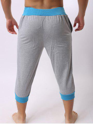 Hot Lace-Up Color Block Spliced Letters Print Beam Feet Cropped Jogger Shorts - LIGHT GRAY XL Mobile