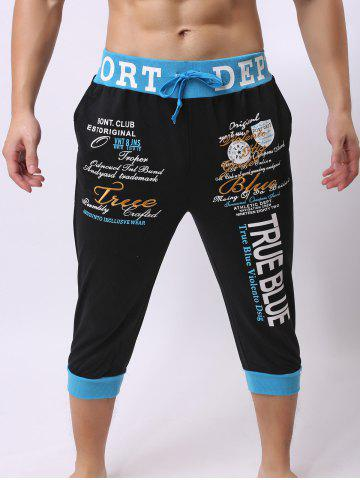 Trendy Lace-Up Color Block Spliced Letters Print Beam Feet Cropped Jogger Shorts - BLUE AND BLACK XL Mobile