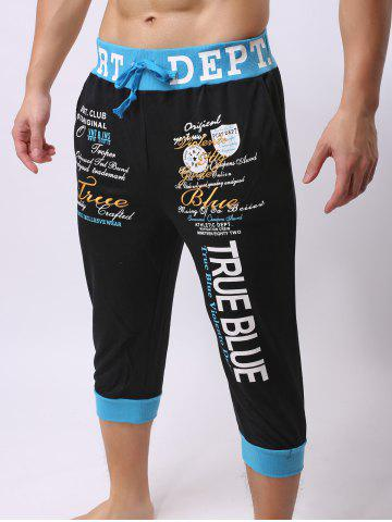 New Lace-Up Color Block Spliced Letters Print Beam Feet Cropped Jogger Shorts - M BLUE AND BLACK Mobile