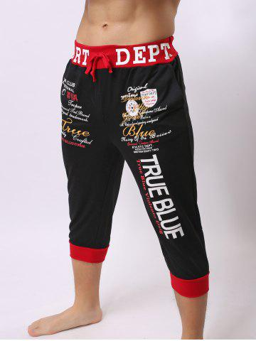 Affordable Lace-Up Color Block Spliced Letters Print Beam Feet Cropped Jogger Shorts - RED WITH BLACK 2XL Mobile