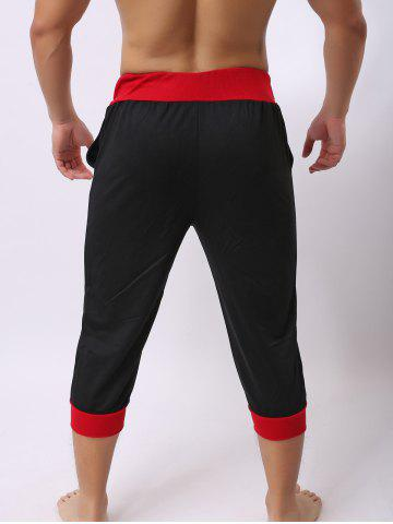 New Lace-Up Color Block Spliced Letters Print Beam Feet Cropped Jogger Shorts - RED WITH BLACK 2XL Mobile
