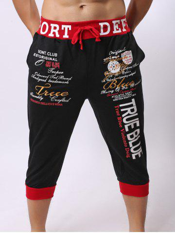 Lace-Up Color Block Spliced Letters Print Beam Feet Cropped Jogger Shorts - RED/BLACK L