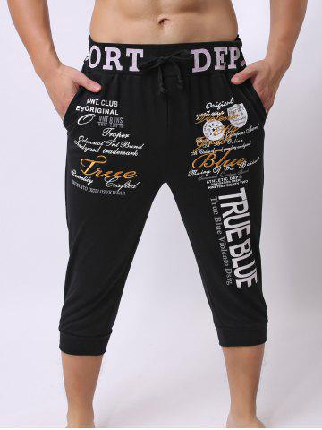 Lace-Up Color Block Spliced Letters Print Beam Feet Cropped Jogger Shorts - Black - Xl