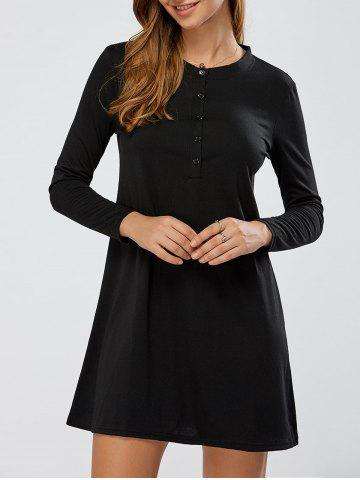 Chic Long Sleeve Mini Swing Dress