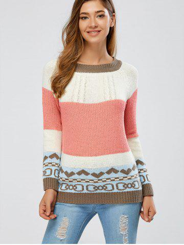 Latest Color Block Cable Knit Jumper COLORMIX ONE SIZE