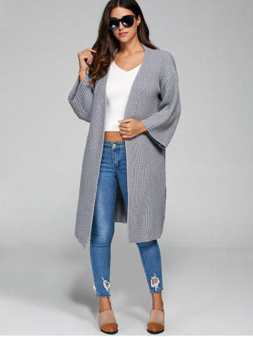 Affordable Longline Open Cardigan GRAY ONE SIZE