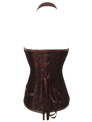 Outfit Vintage Halter Faux Leather Corset - L COFFEE Mobile