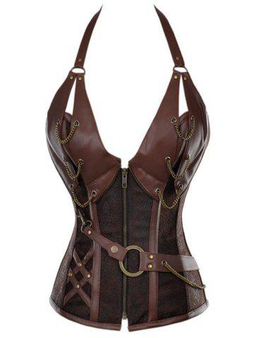 Vintage Halter Faux Leather Corset - Coffee - S