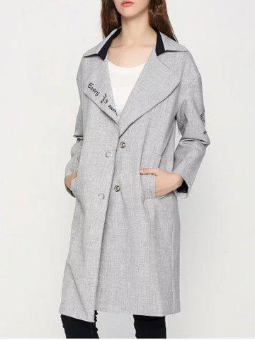 Unique Letter Embroidered Cocoon Coat