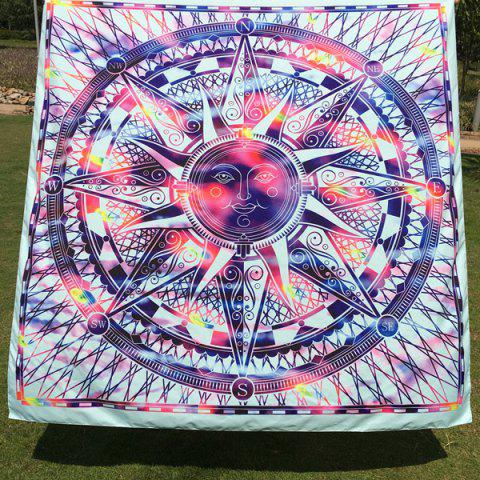 Outfits Casual Colorful Sun God Totem Square Scarf BLUE