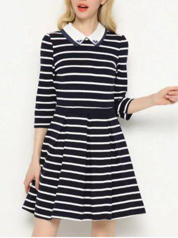 Sale Striped Beading A-Line Dress BLUE M