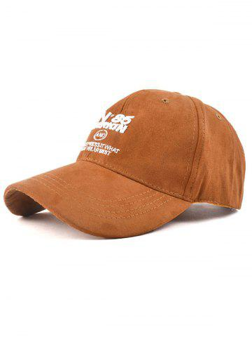 Latest Casual N 85 Embroidery Faux Suede Baseball Hat CAMEL