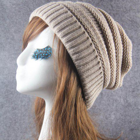 Cheap Winter Stripy Crochet Flanging Knit Slouchy Hat
