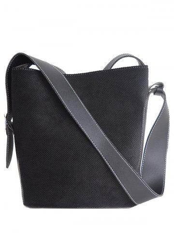 Shops Splicing Corduroy Magnetic Closure Shoulder Bag BLACK