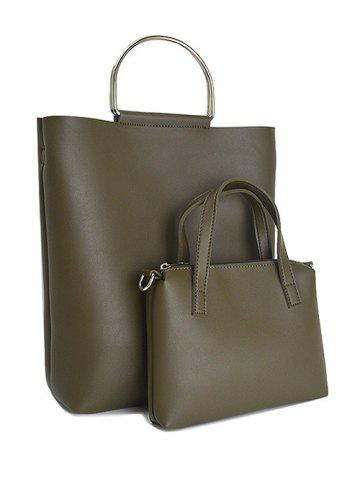 Affordable PU Leather Magnetic Metal Handle Tote Bag ARMY GREEN