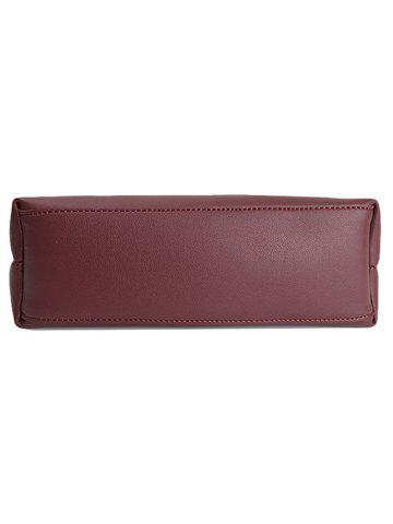 Latest PU Leather Magnetic Metal Handle Tote Bag - WINE RED  Mobile