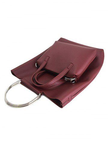 Chic PU Leather Magnetic Metal Handle Tote Bag - WINE RED  Mobile