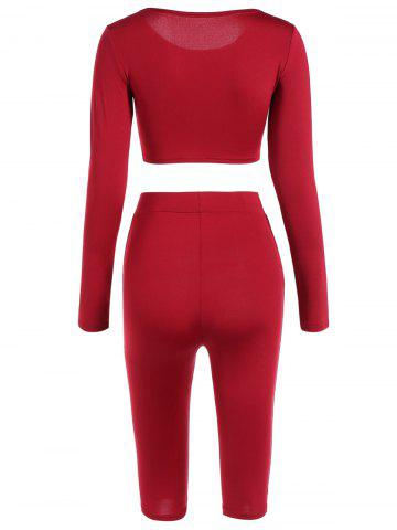 Shop Cropped Sports Top with Shorts - L RED Mobile