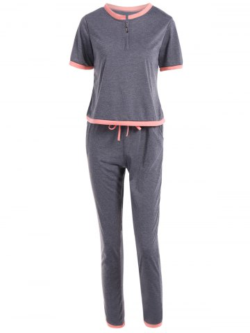 Store Pockets Self Tie Pants and Pullover T-Shirt Top