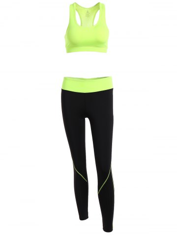 Fancy Racerback Sport Bra + High Waisted Leggings NEON GREEN M