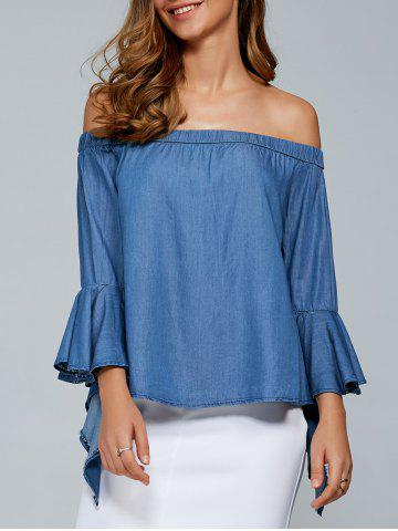 Unique Off The Shoulder Trumpet Sleeve Blouse - M PURPLISH BLUE Mobile